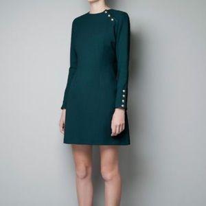 Zara Woman military style dress green size large